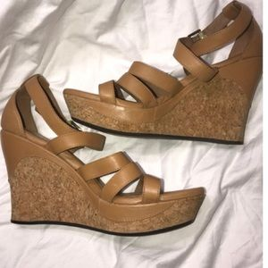 Leather wedge sandals by UGG